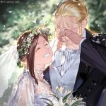 1boy 1girl blonde_hair closed_eyes crying dress holy_pumpkin husband_and_wife smile tears trisha_elric twitter_username van_hohenheim wedding_dress