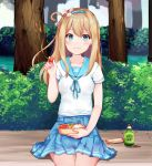 1girl blue_eyes blue_skirt blush breasts brown_hair chu_(huaha1320) closed_mouth collarbone day eyebrows_visible_through_hair food girls_frontline hairband holding holding_food long_hair looking_at_viewer medium_breasts outdoors short_sleeves sitting skirt smile solo suomi_kp31_(girls_frontline)