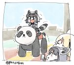 3girls animal_ears black_hair blonde_hair bow bowtie cellphone commentary_request common_raccoon_(kemono_friends) fennec_(kemono_friends) fox_ears grey_hair if_they_mated kemono_friends multicolored_hair multiple_girls panda panzuban phone raccoon_ears raccoon_tail riding_machine short_hair short_sleeves smartphone tail taking_picture trembling twitter_username