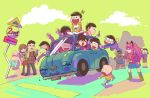 4girls 6+boys arm_behind_head boots brothers buck_teeth car cellphone chibita couple dayoon driving facial_hair family glasses_boy_(osomatsu-san) green_background ground_vehicle hashimoto_nyaa heart heart-shaped_pupils heart_in_mouth isa_(garashi) iyami matsuno_choromatsu matsuno_ichimatsu matsuno_juushimatsu matsuno_karamatsu matsuno_matsuyo matsuno_matsuzou matsuno_osomatsu matsuno_todomatsu middle_finger motor_vehicle multiple_boys multiple_girls mustache osomatsu-kun osomatsu-san phone pinwheel road_sign scarf sextuplets short-haired_girl_(osomatsu-san) siblings sign simple_background smartphone symbol-shaped_pupils waving yowai_totoko