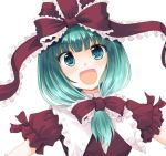 1girl :d aqua_eyes aqua_hair bangs blunt_bangs blush commentary_request dress eyebrows_visible_through_hair frilled_shirt_collar frilled_sleeves frills front_ponytail hair_ribbon kagiyama_hina kinagi_yuu long_hair looking_at_viewer low-tied_long_hair open_mouth outstretched_arms puffy_short_sleeves puffy_sleeves red_dress red_ribbon ribbon ringed_eyes short_sleeves simple_background smile solo tareme touhou upper_body white_background