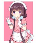 1girl :o apron bangs blend_s blunt_bangs blush brown_hair clenched_hand cowboy_shot frilled_apron frills gloves hair_bobbles hair_ornament hair_over_shoulder hands_up head_scarf long_hair looking_at_viewer low_twintails parted_lips pink_shirt pink_skirt pleated_skirt puffy_sleeves sakuranomiya_maika shirt skirt solo tengxiang_lingnai twintails uniform v very_long_hair violet_eyes waist_apron waitress white_apron white_gloves