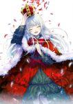 1girl arm_up cape closed_eyes crown dress floating_hair fur_trim head_tilt highres k_(anime) kushina_anna long_hair open_mouth red_cape red_neckwear sakurai_(saku1460) silver_hair smile solo standing very_long_hair