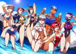 6+girls ;) abs ahoge annotated armpits bangs bikini black_hair blue_hair blue_sky braid breakdown breasts cleavage competition_swimsuit dark_skin decepticon dog_tags dreadwing flat_chest gas_mask genderswap genderswap_(mtf) green_bikini grin hair_over_one_eye hand_on_hip highres ice_cream_cone knockout_(transformers) large_breasts lens_flare medium_breasts megatron multicolored_hair multiple_girls muscle muscular_female nail_polish navel navel_cutout ocean one-piece_swimsuit one_eye_closed open_mouth personification purple_hair purple_nails red_eyes redhead ryuusei_(mark_ii) shockwave_(transformers) short_hair single_braid sky skyquake small_breasts smile soundwave starscream streaked_hair summer sunglasses swimsuit tankini transformers two-tone_hair visor water water_gun white_hair yellow_eyes