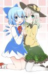 2girls :d aqua_eyes bangs black_hat blue_bow blue_eyes blue_hair blush bow brown_footwear cirno closed_mouth dress eyebrows_visible_through_hair floral_print green_skirt hair_bow hand_holding hat hat_bow ice ice_wings interlocked_fingers kneeling komeiji_koishi long_sleeves looking_at_viewer mary_janes multiple_girls open_mouth pantyhose red_footwear red_neckwear shoes short_hair silver_hair skirt sleeveless sleeveless_dress smile socks touhou white_legwear wings yellow_bow