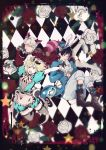 3boys :o alice_(wonderland) alice_(wonderland)_(cosplay) alice_in_wonderland animal_ears apron black_gloves black_hair blonde_hair blue_eyes boots bow brown_eyes brown_legwear bunny_tail cat_ears cat_tail checkered checkered_background cheshire_cat cheshire_cat_(cosplay) coat cosplay cross-laced_footwear epaulettes flower gloves green_eyes hair_bow hat highres katsuki_yuuri lace-up_boots male_focus mary_janes mini_hat mini_top_hat multiple_boys open_mouth pocket_watch puffy_shorts rabbit_ears red_rose rose saeko_(artist) shoes shorts silver_hair smile star tail thigh-highs top_hat viktor_nikiforov watch white_gloves white_rabbit white_rabbit_(cosplay) white_rose yuri!!!_on_ice yuri_plisetsky