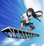 arms_behind_back black_hair blue_sky boots commentary_request dragon_ball glasses green_eyes kantai_collection long_hair motion_lines ooyodo_(kantai_collection) parody pleated_skirt shirt skirt sky solo surfing tao_pai_pai thigh-highs watanore