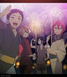 4boys atsushi_toushirou bandanna eating festival fireworks gotou_toushirou hand_on_hip japanese_clothes kimono letterboxed male_focus multicolored_hair multiple_boys orange_hair redhead sayagata shaved_ice shinano_toushirou shiru_(b_sukinai) streaked_hair tasuki touken_ranbu violet_eyes yagen_toushirou yukata
