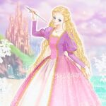 1girl absurdly_long_hair arm_up barbie_(character) barbie_(franchise) barbie_as_rapunzel barbie_movies beach blonde_hair blue_eyes braid bug building butterfly castle cliff clouds dress formal glowing gold_trim gown highres holding holding_paintbrush insect jewelry juliet_sleeves landscape long_dress long_hair long_sleeves magic medieval multicolored multicolored_clothes multicolored_dress multiple_braids necklace ocean okitafuji outdoors paintbrush pink_dress pink_skirt princess puffy_sleeves purple_dress purple_sky rapunzel_(barbie) rapunzel_(grimm) renaissance sand skirt sky smile solo sparkle square_neckline very_long_hair