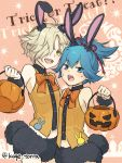 2boys animal_ears blue_eyes blue_hair bow freckles gokotai hair_over_one_eye halloween jack-o'-lantern kagetora male_focus multiple_boys open_mouth ponytail puffy_shorts rabbit_ears sayo_samonji shorts smile touken_ranbu trick_or_treat twitter_username white_hair yellow_eyes