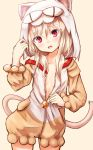 1girl :d animal_hood baram bell blonde_hair breasts cat_hood cat_tail commentary_request eyebrows_visible_through_hair fake_tail fate/kaleid_liner_prisma_illya fate_(series) hair_between_eyes hood hooded_pajamas illyasviel_von_einzbern jingle_bell long_hair looking_at_viewer nekoarc open_mouth open_pajamas pajamas red_eyes small_breasts smile solo tail