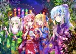 4girls blonde_hair blue_eyes blue_kimono blue_ribbon blush closed_eyes cowboy_shot eating eyebrows_visible_through_hair flower green_eyes green_kimono hair_between_eyes hair_flower hair_ornament hair_ribbon high_ponytail hika_(cross-angel) holding japanese_clothes kimono kuuki_shoujo long_hair magi_in_wanchin_basilica multiple_girls obi open_mouth outdoors pink_hair red_eyes red_flower red_kimono ribbon rice_simon sash sergestid_shrimp_in_tungkang shaved_ice side_ponytail silver_hair sky smile standing star_(sky) starry_sky tanabata the_personification_of_atmosphere xiao_ma xuan_ying yukata