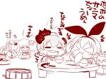 4girls animal_ears bangs blunt_bangs bowl chef_hat chibi chopsticks cloak closed_eyes collar comic commentary_request drooling eating enemy_aircraft_(kantai_collection) fake_animal_ears fish folded_ponytail food_in_mouth greyscale grilling hachimaki hair_ornament hairband happi hat headband holding holding_bowl holding_chopsticks holding_plate japanese_clothes kantai_collection long_hair long_sleeves mittens monochrome multiple_girls nejiri_hachimaki northern_ocean_hime northern_water_hime open_mouth plate rabbit_ears rensouhou-chan rice_bowl sako_(bosscoffee) shimakaze_(kantai_collection) shinkaisei-kan sidelocks sleeveless smile translation_request yukikaze_(kantai_collection)