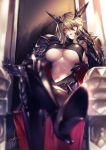 1girl armor artist_name artoria_pendragon_(all) artoria_pendragon_(lancer_alter) blonde_hair blurry blush boots braid breasts cape chair cleavage commentary_request dark_persona depth_of_field eyebrows_visible_through_hair fate/grand_order fate_(series) gauntlets hand_on_own_cheek high_heel_boots high_heels horns kyouya_(mukuro238) large_breasts legs_crossed lips long_hair looking_at_viewer navel open_mouth parted_lips pauldrons red_cape shiny shiny_hair short_hair sitting solo throne under_boob yellow_eyes