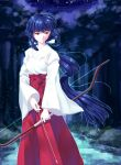 1girl blue_hair bow_(weapon) brown_eyes floating_hair forest hakama highres holding holding_arrow holding_bow_(weapon) holding_weapon inuyasha japanese_clothes kikyou_(inuyasha) kimono long_hair miko namo nature night outdoors red_hakama solo standing very_long_hair weapon white_kimono