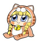 >:) 1girl animal_costume bangs bkub blonde_hair blue_eyes blunt_bangs blush_stickers braid cat_costume chibi closed_mouth dot_nose dragon_quest_xi eyebrows_visible_through_hair full_body looking_up simple_background sitting smile solo twin_braids veronica_(dq11) white_background