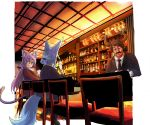 1boy 2girls absurdres alcohol animal_ears bartender black_jacket black_neckwear blue_hair bottle brown_hair cat_ears cat_tail chair collared_shirt commentary_request cup doitsuken drinking_glass earrings eyebrows_visible_through_hair facial_hair facing_another facing_away fang fox_ears fox_tail glasses highres holding holding_glass horns indoors jacket jewelry liquor long_hair long_sleeves multiple_girls mustache necktie open_mouth pants pub purple_hair shelf shirt shoes sitting slit_pupils smile standing tail tied_hair violet_eyes white_shirt wine
