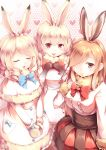 3girls :3 :d absurdres animal_ears arctic_hare_(kemono_friends) arm_at_side bangs black_gloves blue_bow blue_neckwear blush bob_cut bow bowtie breasts brown_eyes brown_hair buttons capelet closed_eyes closed_mouth corset cowboy_shot dress drill_hair elbow_gloves european_hare_(kemono_friends) eyebrows eyebrows_visible_through_hair eyelashes facing_viewer frilled_dress frilled_shirt frilled_skirt frills fur_collar fur_trim gloves gradient_clothes gradient_gloves hair_between_eyes hair_over_one_eye hand_on_own_chest hands_together heart heart_background highres kanzakietc kemono_friends lips long_hair looking_at_viewer medium_breasts miniskirt mittens mountain_hare_(kemono_friends) multicolored multicolored_clothes multicolored_gloves multiple_girls open_mouth pocket rabbit_ears red_eyes red_neckwear red_skirt shirt short_hair sidelocks skirt sleeves_past_wrists smile standing straight_hair tareme tongue v_arms white_dress white_gloves white_hair white_mittens white_shirt