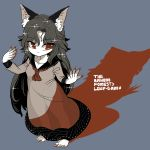 1girl animal_ears black_hair dress engrish frown imaizumi_kagerou long_hair no_shoes orange_eyes ranguage see-through standing touhou wolf_ears yt_(wai-tei)