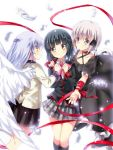 2girls angel_beats! bangs black_dress black_hair blazer blunt_bangs brown_eyes company_connection crossover dress feathers flower jacket kagari key_(company) little_busters! lliissaawwuu2 long_hair multiple_girls plaid plaid_skirt pleated_skirt red_ribbon rewrite ribbon short_hair silver_hair skirt smile suginami_mutsumi tenshi_(angel_beats!) violet_eyes white_wings wings yellow_eyes