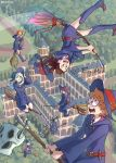 amanda_o'neill barbara_parker blonde_hair broom broom_riding brown_hair constanze_amalie_von_braunschbank-albrechtsberger diana_cavendish flying green_hair hair_over_one_eye hanna_england hat kagari_atsuko little_witch_academia long_hair looking_at_viewer lotte_jansson multicolored_hair multiple_girls mushroom pale_skin red_eyes school short_hair sucy_manbavaran ticcy wand witch witch_hat
