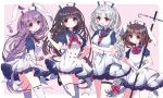 4girls :d :o :q alternate_costume animal_ears apron bandage bangs black_footwear blue_dress blush bow bowtie braid breasts brown_hair closed_mouth commentary_request crossed_arms dress eyebrows_visible_through_hair frilled_dress frills hat heart holding houraisan_kaguya inaba_tewi leg_up looking_at_viewer mary_janes medium_breasts multiple_girls neck_ribbon necktie nurse_cap open_mouth parted_bangs pink_background rabbit_ears red_bow red_eyes red_neckwear red_ribbon reisen_udongein_inaba ribbon rimei shoes short_sleeves silver_hair simple_background single_braid smile standing standing_on_one_leg stethoscope syring tareme thigh-highs thigh_strap tongue tongue_out touhou white_apron white_legwear wrist_cuffs yagokoro_eirin zettai_ryouiki