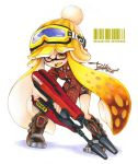 1girl artist_name bangs barcode bike_shorts black_footwear black_shorts blonde_hair blunt_bangs bobblehat boots collared_shirt dated domino_mask dual_squelcher_(splatoon) fangs full_body goggles goggles_on_headwear hat holding holding_weapon inkling inkling_(language) isamu-ki_(yuuki) long_hair long_sleeves looking_at_viewer marker_(medium) mask open_mouth plaid plaid_shirt pointy_ears red_shirt shirt shorts signature single_vertical_stripe solo splatoon splatoon_1 standing tentacle_hair traditional_media twitter_username weapon white_background yellow_eyes yellow_hat