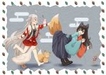 ! 2girls :d :o absurdres acorn ahoge backless_outfit bangs bare_shoulders barefoot bell bird black_bow black_footwear black_hair black_hakama black_shirt blush boots bow breasts chiya_(urara_meirochou) cleavage collarbone commentary_request eyebrows_visible_through_hair fox fox_tail full_body goose green_eyes grey_background hair_bow hakama highres hip_vent japanese_clothes jingle_bell kimono long_hair long_sleeves looking_at_another meiji_schoolgirl_uniform multicolored multicolored_clothes multicolored_kimono multiple_girls musical_note open_mouth poking red_eyes red_skirt shiroi_sange shirt sidelocks silver_hair skirt sleeveless sleeveless_shirt small_breasts smile surprised tail tatsumi_kon urara_meirochou very_long_hair walking wide_sleeves