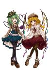 2girls alternate_costume argyle argyle_legwear black_legwear blonde_hair blue_skirt bow brown_bow brown_footwear casual contemporary fang flandre_scarlet green_eyes green_hair green_hat hat hat_bow heart heart_of_string high-waist_skirt highres karua_m komeiji_koishi leaning_forward lifted_by_self long_hair long_sleeves looking_at_viewer miniskirt multiple_girls one_eye_closed open_mouth pantyhose pleated_skirt polka_dot red_eyes red_skirt shoe_bow shoes skirt skirt_lift smile suspenders third_eye touhou transparent_background wings