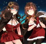 2girls ;) aqua_eyes bell black_legwear blush braid breasts brown_hair cape cardia_beckford character_request cleavage code:realize collar fur_trim gear_hair_ornament gloves green_eyes large_breasts long_hair looking_at_viewer multiple_girls one_eye_closed over_shoulder pantyhose red_gloves s2cikn_(yuzu) sack smile standing