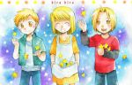 1girl 2boys alphonse_elric apron black_sleeves blonde_hair blue_background blush brothers closed_eyes dress edward_elric eyebrows_visible_through_hair fullmetal_alchemist happy long_sleeves looking_down looking_up multicolored multicolored_background multiple_boys open_mouth pants purple_background red_shirt shirt short_hair siblings smile star waistcoat white_shirt winry_rockbell yellow_eyes