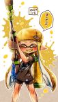 1girl backwards_hat bangs baseball_cap bike_shorts black_shirt black_shorts blonde_hair blunt_bangs catchphrase closed_eyes dark_skin domino_mask facing_viewer fangs harutarou_(orion_3boshi) hat hero_charger_(splatoon) highres holding holding_weapon ink_tank_(splatoon) inkling inkling_(language) long_hair mask paint_splatter pointy_ears print_shirt shirt short_sleeves shorts single_vertical_stripe solo splatoon splatoon_1 standing t-shirt tentacle_hair translated weapon yellow_tongue