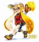 1girl :d arms_behind_back artist_name bangs barcode baseball_cap bike_shorts black_shorts blonde_hair blunt_bangs brown_footwear brown_hat collared_shirt cross-laced_footwear domino_mask fangs full_body hat holding holding_weapon inkbrush_(splatoon) inkling isamu-ki_(yuuki) long_hair long_sleeves looking_at_viewer marker_(medium) mask open_mouth pointy_ears red_shirt shirt shoes shorts signature single_vertical_stripe smile solo splatoon splatoon_1 standing tentacle_hair traditional_media twitter_username walking weapon white_background yellow_eyes
