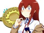 /\/\/\ 1girl badge blue_eyes blush breasts chata_maru_(irori_sabou) collared_shirt commentary eyebrows_visible_through_hair hair_between_eyes holding jacket long_hair makise_kurisu medium_breasts necktie off_shoulder proposal redhead ring_box shirt simple_background solo steins;gate upper_body wavy_mouth white_background