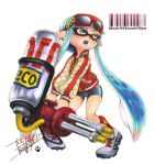 1girl artist_name bangs barcode bike_shorts black_shorts blue_hair blue_tongue blunt_bangs cleats cross-laced_footwear domino_mask earrings full_body green_eyes grey_shoes heterochromia holding holding_weapon hydra_splatling_(splatoon) inkling isamu-ki_(yuuki) jacket jewelry letterman_jacket long_hair long_sleeves looking_to_the_side marker_(medium) mask open_mouth paw_print pointy_ears red-framed_eyewear red_jacket red_legwear shoes shorts signature single_vertical_stripe solo splatoon splatoon_1 standing sunglasses sunglasses_on_head tentacle_hair traditional_media twitter_username weapon yellow_eyes