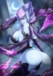 1girl :d ass bare_shoulders black_sclera blue_skin breasts bright_pupils crescent_moon evelynn eyelashes fang highres large_breasts league_of_legends lipstick looking_at_viewer makeup moon night night_sky open_mouth sideboob sky slit_pupils smile solo torahime_(roland00) white_eyes white_hair