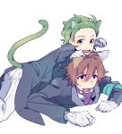 2boys amagase_touma animal_ears armband brown_eyes brown_hair cat_ears cat_tail dogpile gloves green_eyes green_hair idolmaster idolmaster_side-m kemonomimi_mode looking_at_viewer mitarai_shouta multiple_boys namco_namja_town open_mouth paw_pose reo_(pixiv_1466910) simple_background tail white_background white_gloves