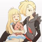1boy 1girl black_pants blonde_hair brother_and_sister child cleffa closed_eyes dress gladio_(pokemon) green_eyes hair_over_one_eye hand_on_another's_head hood hoodie lillie_(pokemon) long_hair long_sleeves open_mouth pants pokemon pokemon_(anime) pokemon_(creature) pokemon_(game) pokemon_sm pokemon_sm_(anime) short_hair siblings simple_background siroromo sitting sleeveless sleeveless_dress torn_clothes white_dress younger