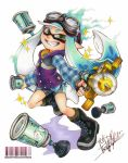 1girl artist_name aura bangs barcode bike_shorts black_footwear black_shorts blue_hair blue_shirt blunt_bangs bomb_rush_(splatoon) boots burst_bomb_(splatoon) cross-laced_footwear domino_mask foreshortening full_body goggles goggles_on_head green_eyes green_hair grin holding holding_weapon inkling isamu-ki_(yuuki) jacket long_hair long_sleeves looking_at_viewer marker_(medium) mask plaid plaid_shirt pointy_ears purple_jacket shadow sharp_teeth shirt shorts signature single_vertical_stripe sleeveless_jacket smile solo splash-o-matic_(splatoon) splatoon splatoon_1 standing teeth tentacle_hair traditional_media twitter_username weapon white_background