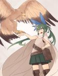 1girl :d bag bangs belt bird bird_on_hand black_eyes black_shorts blue_bow blush boots bow brown_footwear cape commentary_request eagle feet_out_of_frame flower green_hair green_skirt grey_background hair_between_eyes hair_bow hair_flower hair_ornament kaginoni knee_boots long_hair looking_away open_mouth original pleated_skirt ponytail selenoah shirt shorts shorts_under_skirt skirt smile solo standing very_long_hair