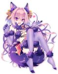 1boy androgynous animal_ears astolfo_(fate) black_bow blush bow braid cosplay dangerous_beast dangerous_beast_(cosplay) elbow_gloves fang fate/apocrypha fate/grand_order fate_(series) fur_trim gloves hair_ribbon halloween halloween_costume highres hiyu_(itsumono) looking_at_viewer male_focus multicolored_hair navel open_mouth pink_hair ribbon rider_of_black shielder_(fate/grand_order) single_braid solo streaked_hair tail thigh-highs trap violet_eyes wolf_ears wolf_tail