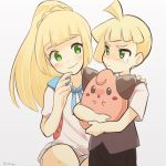 1boy 1girl black_vest blonde_hair brother_and_sister child cleffa gladio_(pokemon) lillie_(pokemon) long_hair pokemon pokemon_(anime) pokemon_(creature) pokemon_(game) pokemon_sm pokemon_sm_(anime) ponytail shirt short_hair short_sleeves siblings simple_background siroromo smile tears vest white_shirt younger
