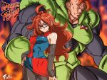 1boy 1girl android_16 android_21 arm_warmers bare_shoulders black_legwear bodysuit breasts commentary_request covered_navel cyborg dragon_ball dragon_ball_fighterz dragonball_z dress earrings erect_nipples eyebrows fire frown fushisha_o glasses hand_on_hip hoop_earrings jewelry long_hair looking_at_viewer multicolored multicolored_clothes multicolored_dress muscle nail_polish pantyhose redhead sleeveless sleeveless_dress smile