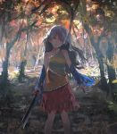 1girl autumn bare_shoulders day detached_sleeves dress forest hatchet head_tilt holding long_hair looking_at_viewer multicolored multicolored_clothes multicolored_dress nature oriental_hatchet outdoors red_eyes sakata_nemuno saltlaver silver_hair single_strap smile solo standing touhou tree
