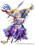 1girl age_of_ishtaria armor armored_boots armored_dress armpits bangs blonde_hair blue_eyes boots breasts cleavage commentary copyright_name detached_sleeves flag frilled_sleeves frills full_body gauntlets helmet highres holding holding_sword holding_weapon large_breasts logo long_hair navel nemusuke official_art open_mouth shiny simple_background solo sparkle sword thigh-highs weapon white_background