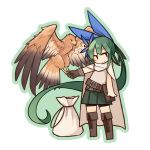 1girl :> bangs belt bird bird_on_hand black_shorts blue_bow blush boots bow brown_footwear cape chibi closed_mouth commentary_request eagle eyebrows_visible_through_hair flower gloves green_hair green_skirt hair_bow hair_flower hair_ornament kaginoni knee_boots long_hair looking_at_viewer original pleated_skirt pouch sack selenoah shorts shorts_under_skirt single_glove skirt smile solo standing transparent_background very_long_hair  _ 