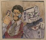 2boys absurdres black_hair bow bowtie card crossover cuphead_(game) daniel_d'arby dice facial_hair facial_mark formal gloves highres jojo_no_kimyou_na_bouken king_dice multiple_boys mustache poker_chip suit vest