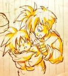 2boys baby blanket blue_eyes brothers closed_eyes eyebrows_visible_through_hair happy looking_at_another male_focus monochrome multiple_boys notebook open_mouth siblings sleeping smile son_gohan son_goten spiky_hair tkgsize traditional_media yellow