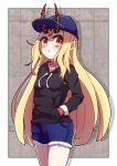1girl absurdres alternate_costume baseball_cap black_sweater blonde_hair blue_hat blue_shorts blush casual closed_mouth commentary_request cowboy_shot cutoffs drawstring facial_tattoo fate/grand_order fate_(series) hand_in_pocket hat highres horns horns_through_headwear ibaraki_douji_(fate/grand_order) long_hair long_sleeves looking_at_viewer pointy_ears short_shorts shorts solo standing straight_hair sweater tareme tattoo very_long_hair yellow_eyes yuya090602