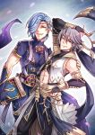 2boys azur_(fire_emblem) blue_hair book elbow_gloves fire_emblem fire_emblem:_kakusei fire_emblem_heroes fire_emblem_if gloves grey_hair gzei hair_over_one_eye holding holding_book looking_at_viewer multiple_boys one_eye_closed shigure_(fire_emblem_if) smile